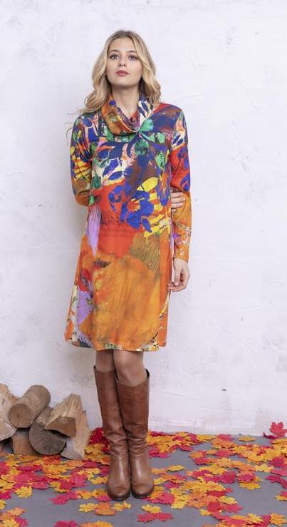 Maloka: Electric Blue Blooms Flared Tricot Sweater Dress MK_ABBIE_N