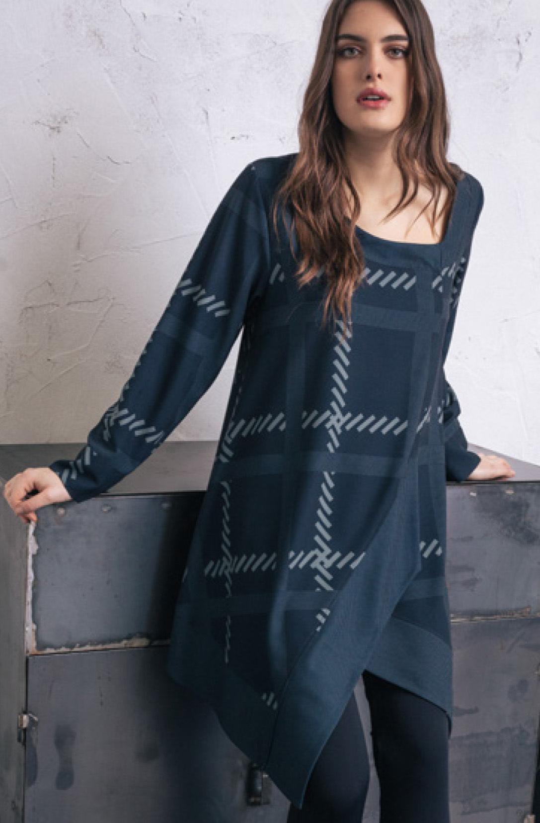 G!oze: Faux Wrap Tweed Asymmetrical Tunic