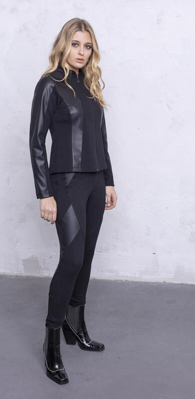 Maloka: Faux Leather Patchwork Fitted Pants MK_DAMITA