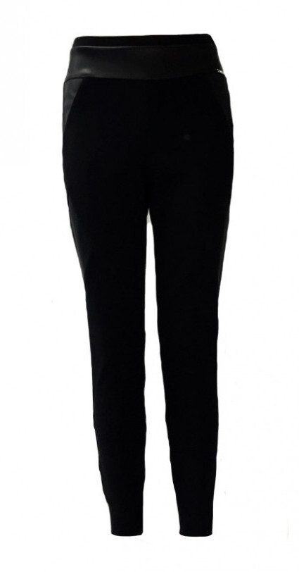 Maloka: Faux Leather Patchwork Fitted Pants