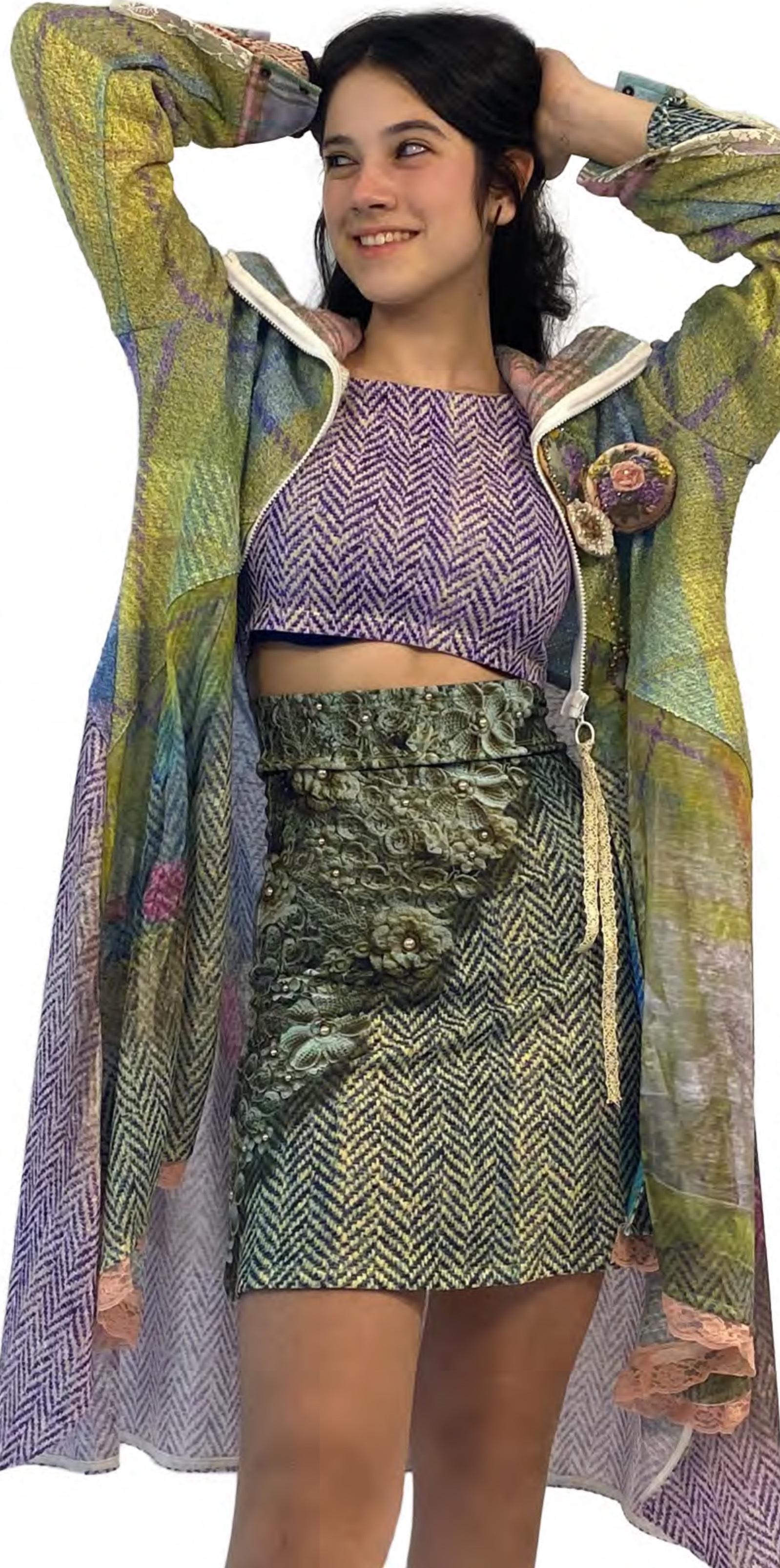 IPNG: Mood Of Flavour Tweed Illusion Flared Mini Skirt IPNG_MFSKMW-068