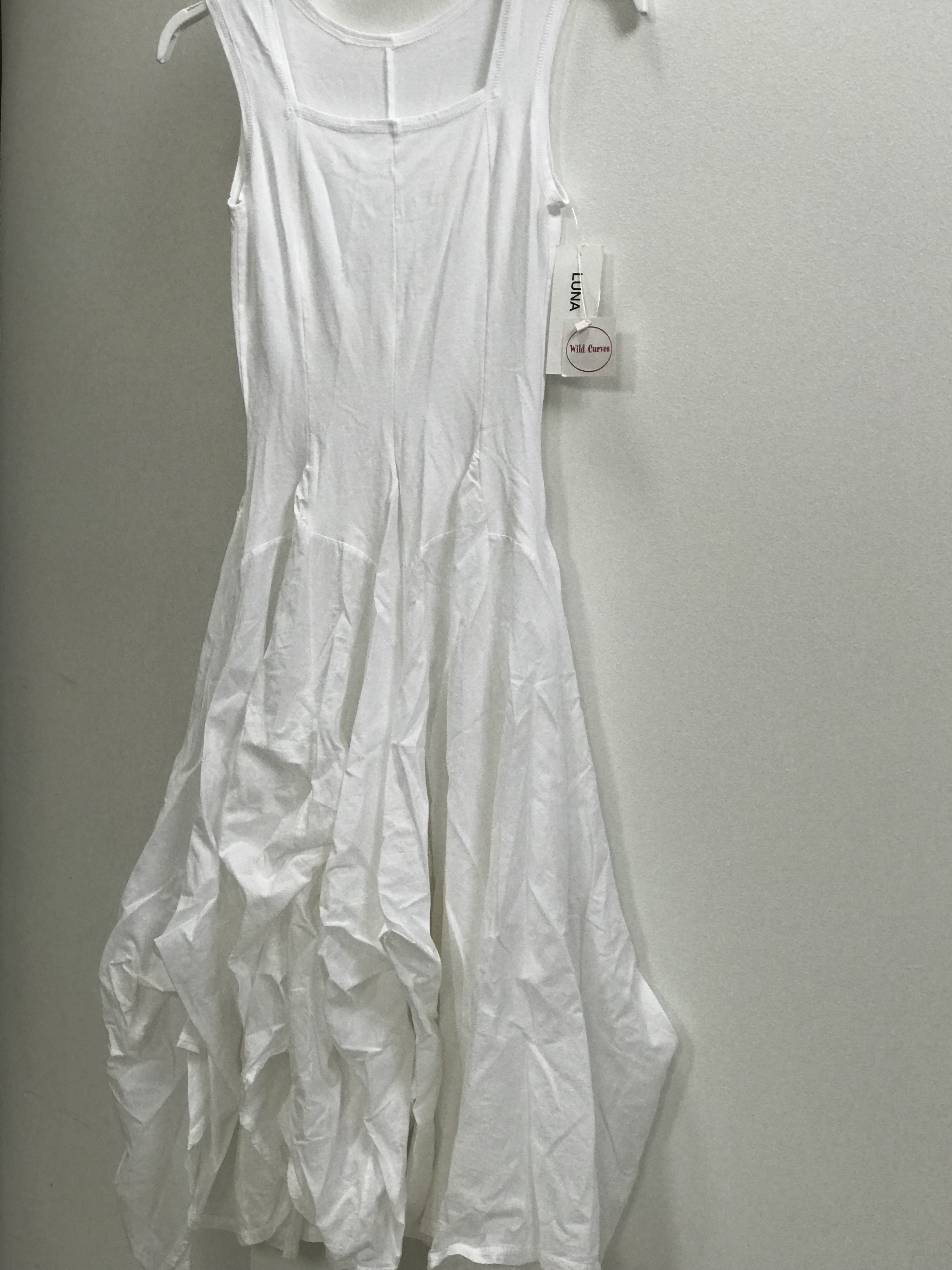Luna Luz: Romantic Square Neck Tied & Dyed Midi Dress in White (Ships Immed, 1 Left!) LL_534T_WHITE