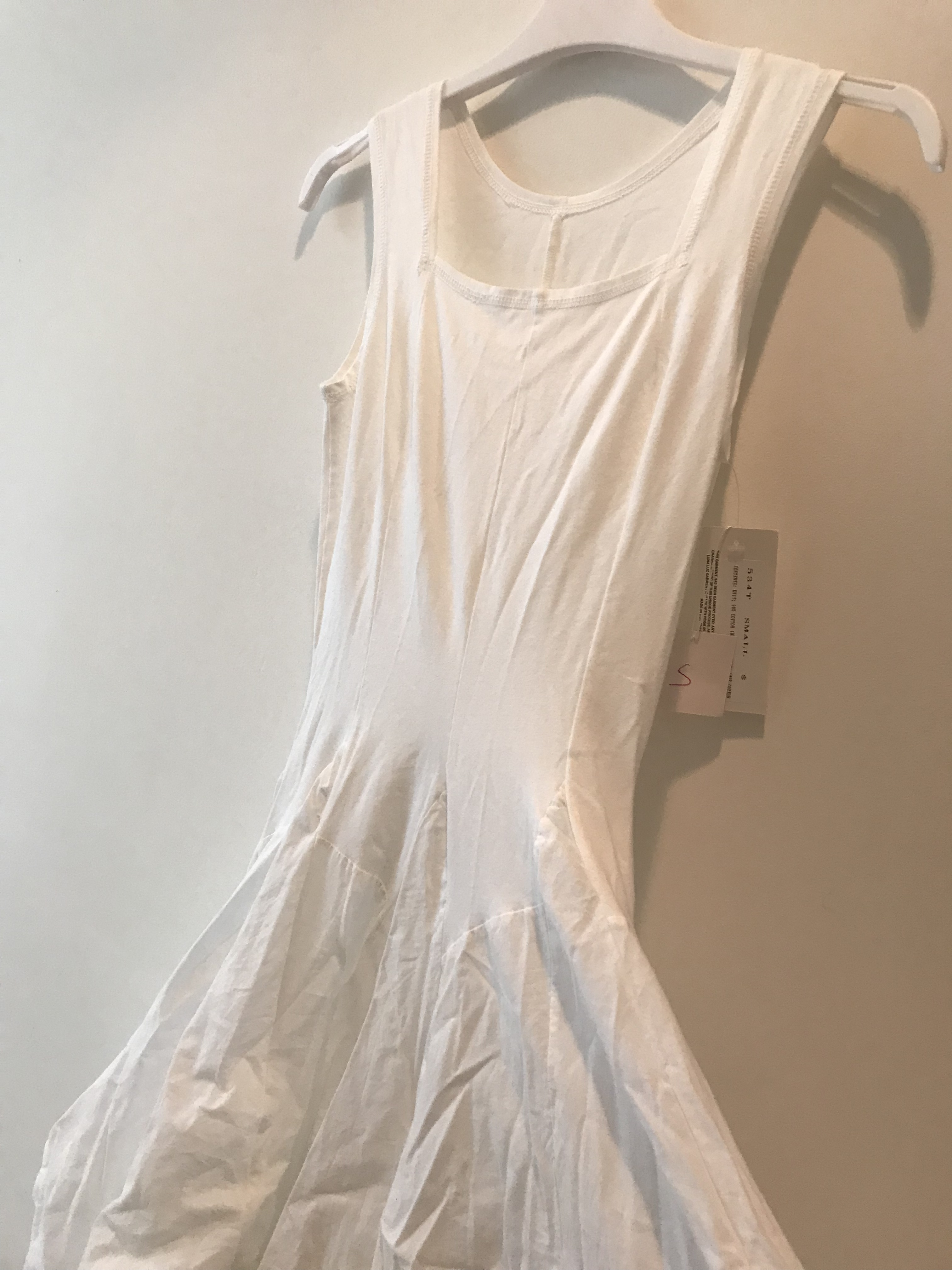 Luna Luz: Romantic Square Neck Tied & Dyed Midi Dress in White (Ships Immed, 1 Left!)