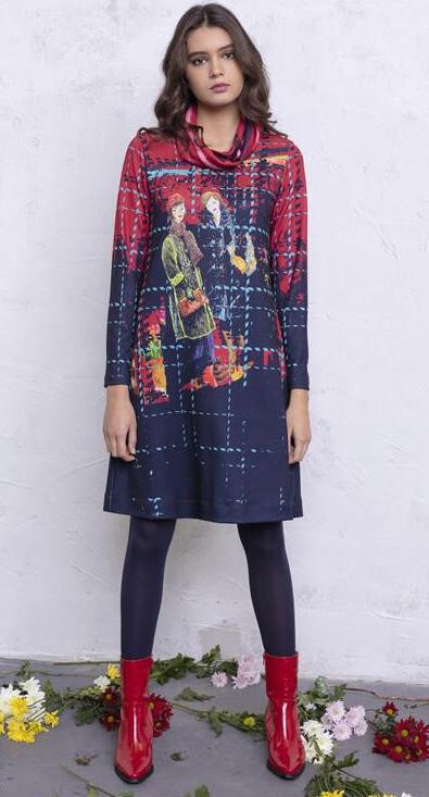 Maloka: Bestie Beauties on a Tweed Canvas Art Dress MK_ENOLA