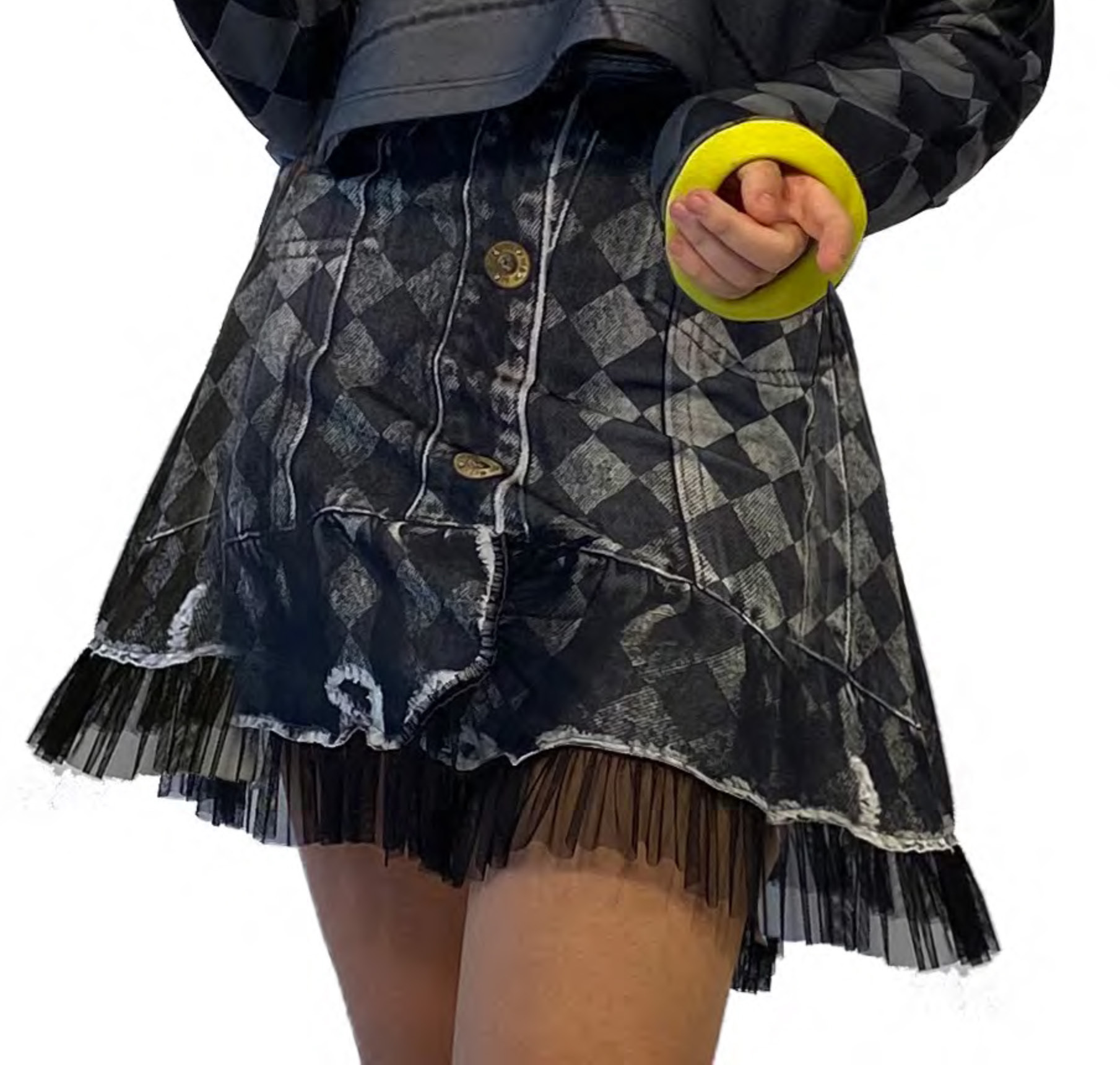 IPNG: Art Is My Body In Rhythm Flared Denim Illusion Skirt