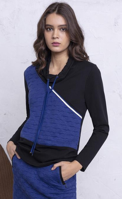 Maloka: Color Contrast Quilted Sweater MK_MARABEL