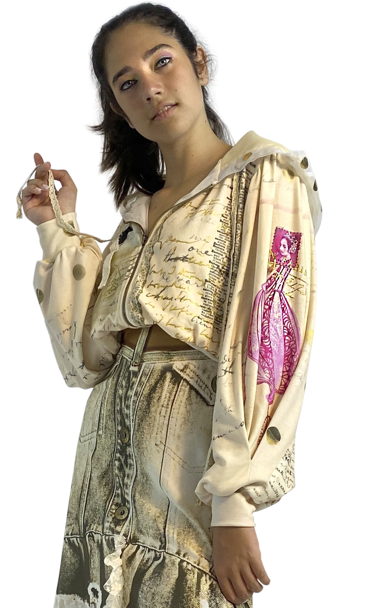 IPNG: If I Was Dancing In Paris Flared Illusion Hoodie Puff Jacket