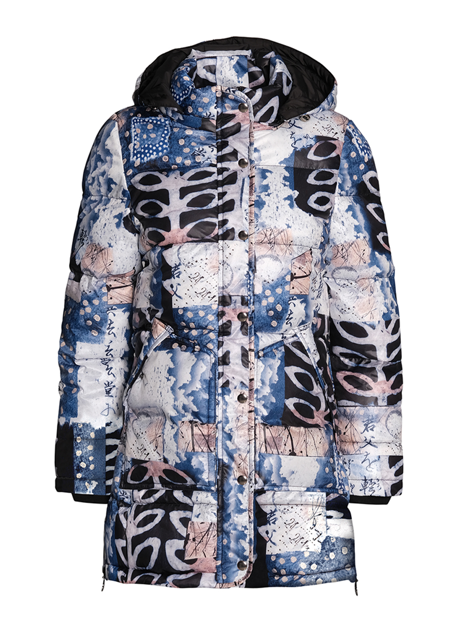 Simply Art Dolcezza: Papers In Color Abstract Art Long Puffer Coat (With Side Zips!) Dolcezza_SimplyArt_71846