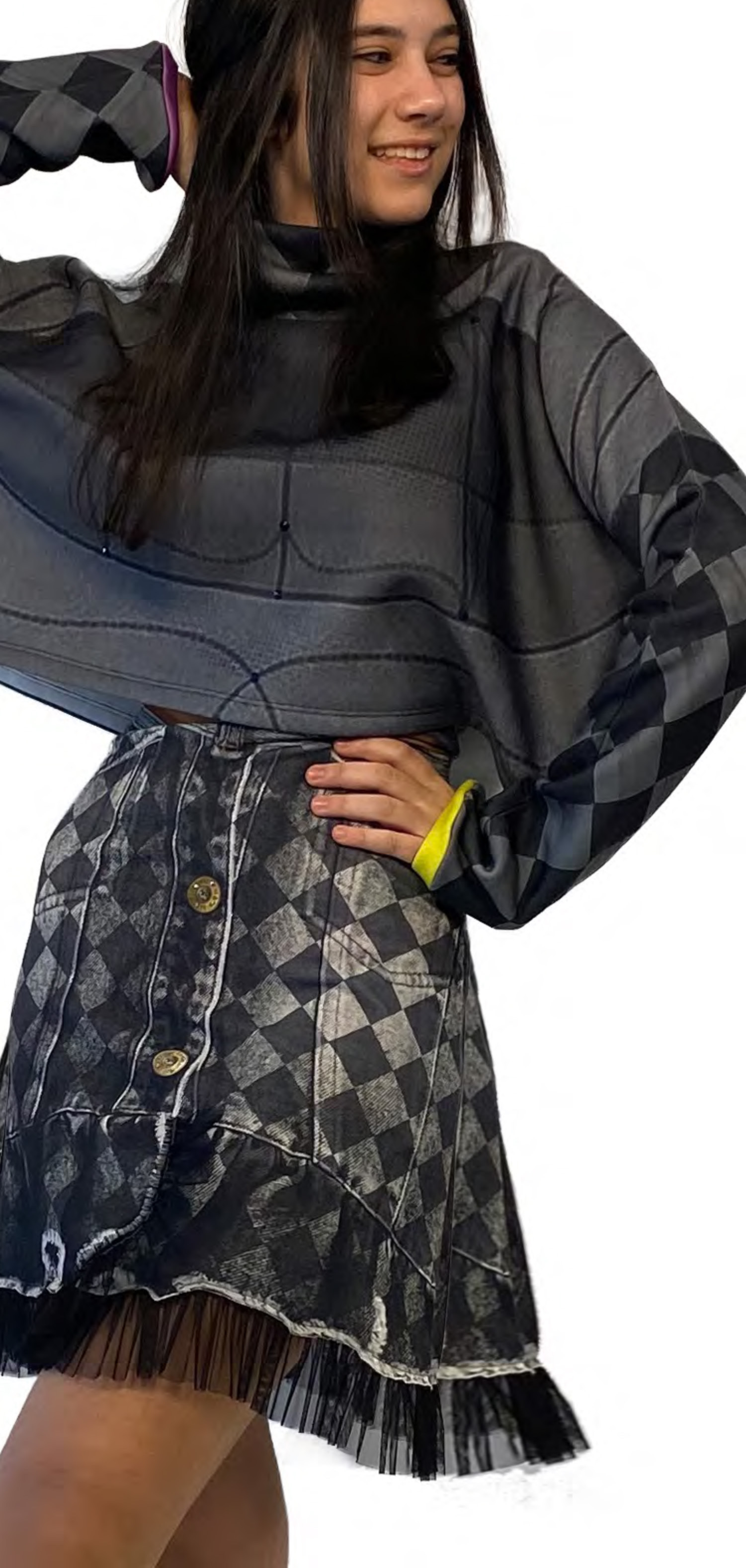 IPNG: Art Is My Body In Rhythm Flared Denim Illusion Blouse T Mini (Available in 2 Lengths!)