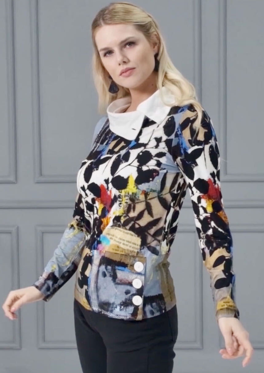 Simply Art Dolcezza: Split Cowl Neck Double OO Abstract Art Sweater Tunic (2 Left!) Dolcezza_SimplyArt_71695