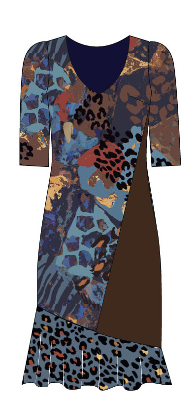 Paul Brial: Fancy Footprint Ruffled Dress