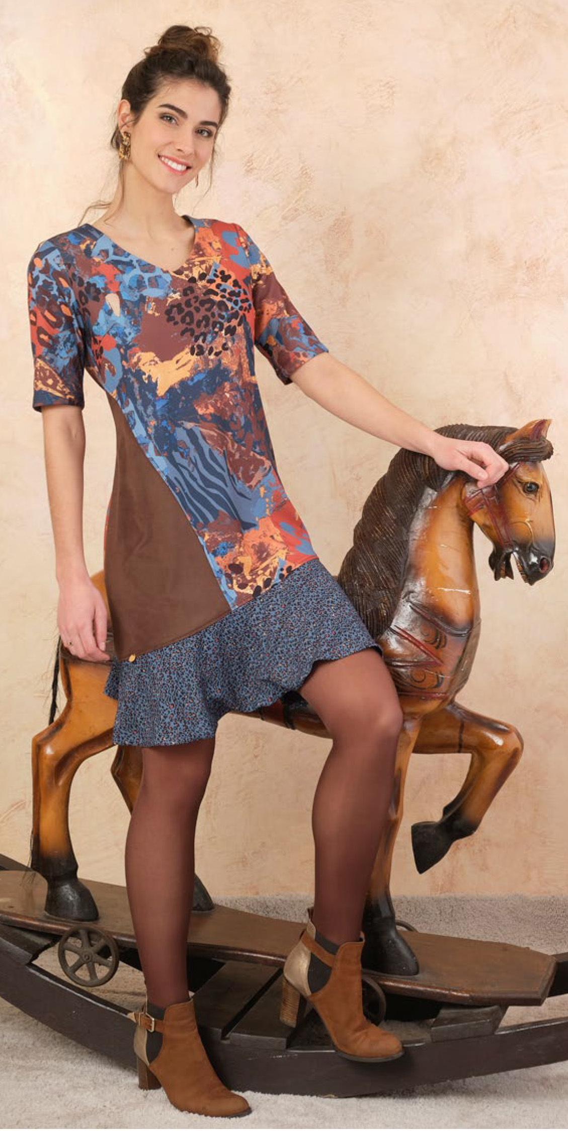Paul Brial: Fancy Footprint Ruffled Dress PB_FELINE