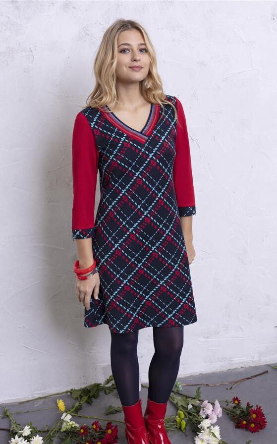 Maloka: Jacquard Tartan Flared Dress (2 Left!) MK_TAMY