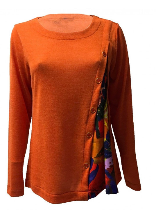 Maloka: Electric Blue Blooms Flared Contrast Sweater SOLD OUT