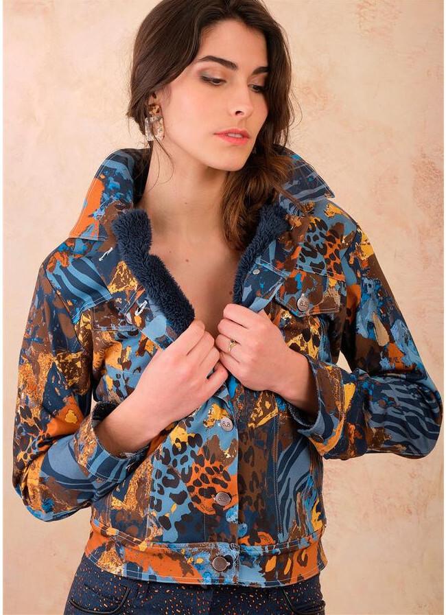 Paul Brial: Fancy Footprint Stretch Denim Twill Faux Fur Jacket PB_ETHNIC