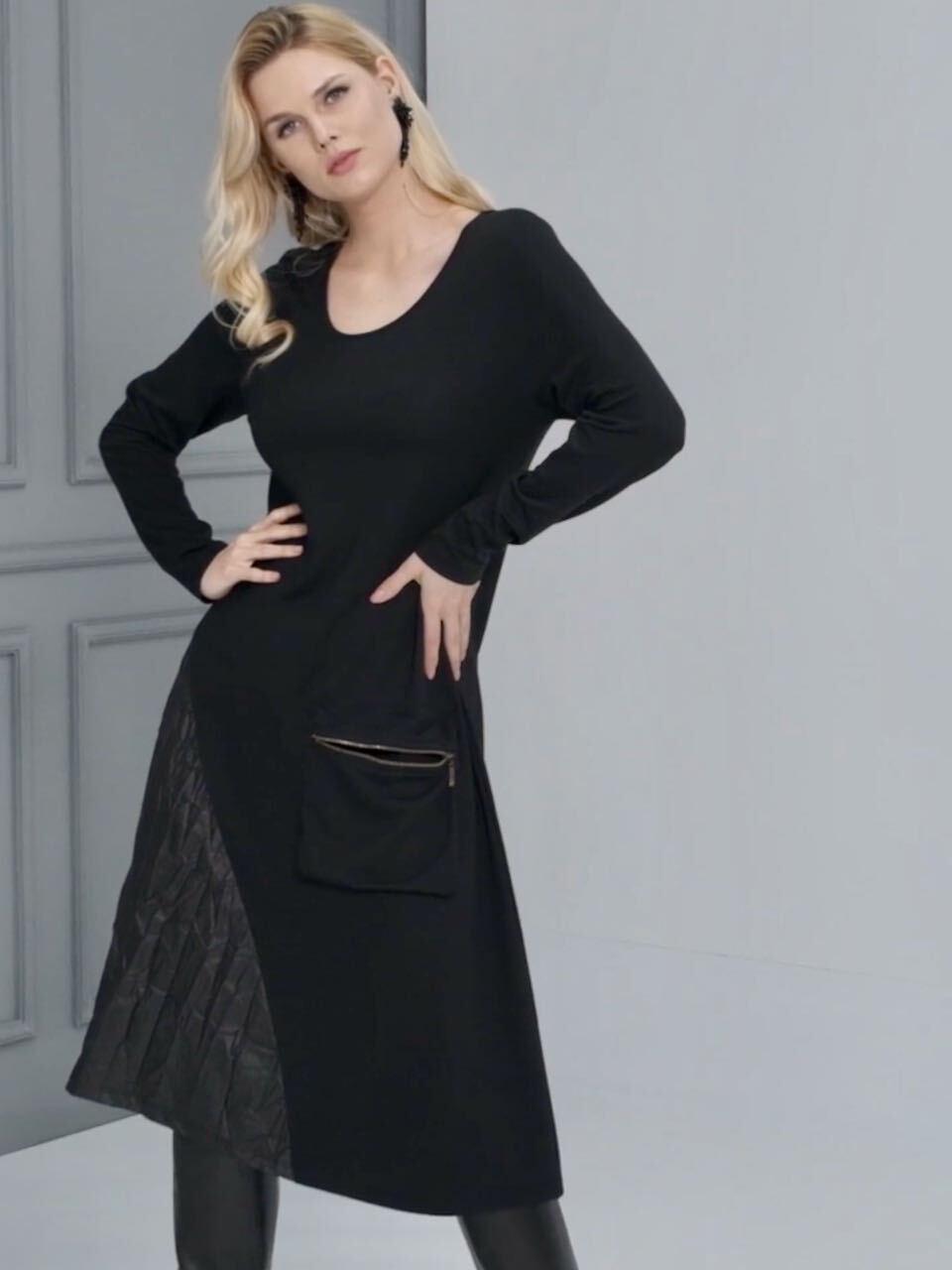 EverSassy By Dolcezza: Asymmetrical Pocket Multi-Media Black Dress EverSassy_11259