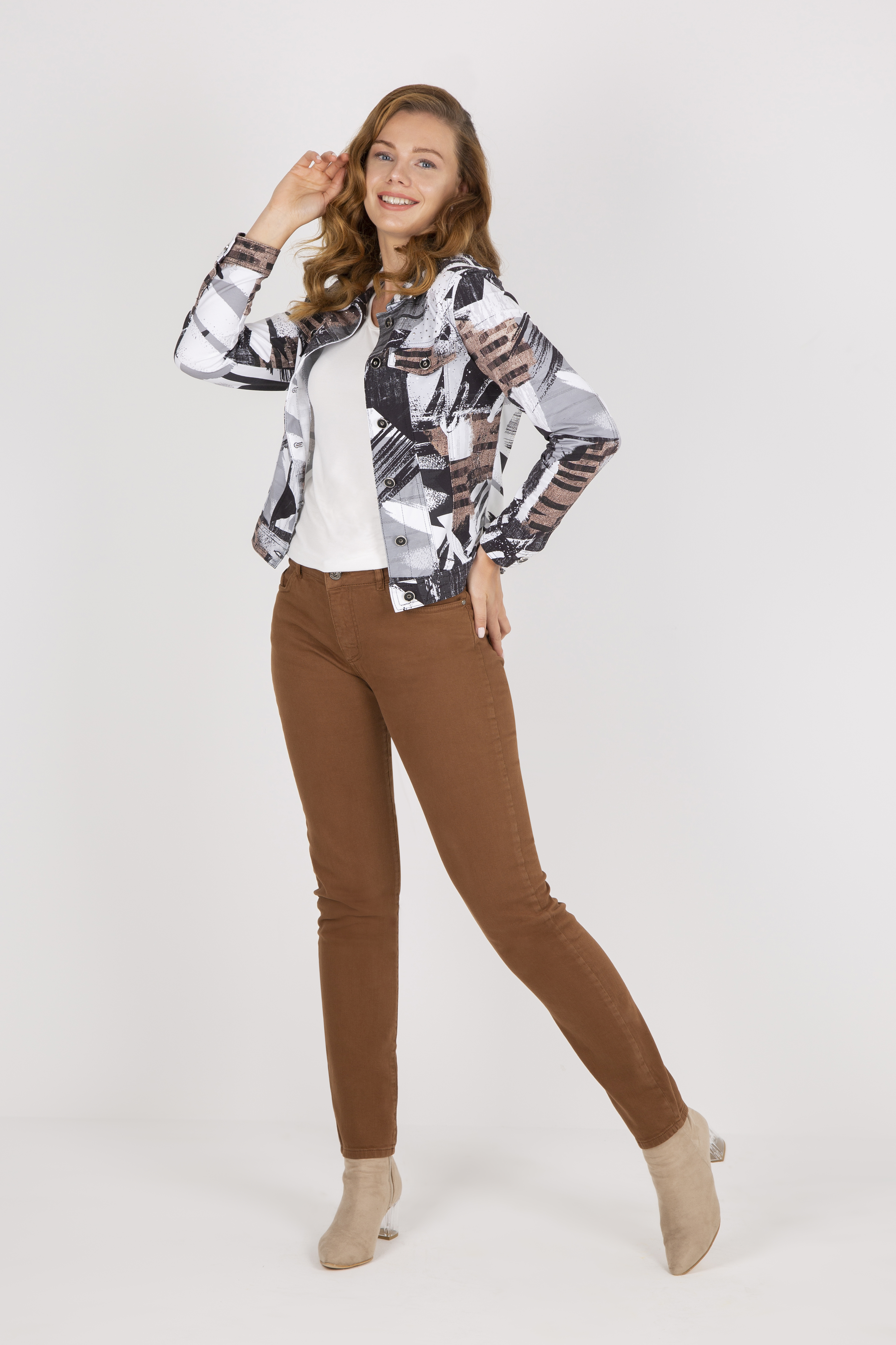Simply Art Dolcezza: A Splash of Cacao Abstract Art Soft Denim Jacket (2 Left!)