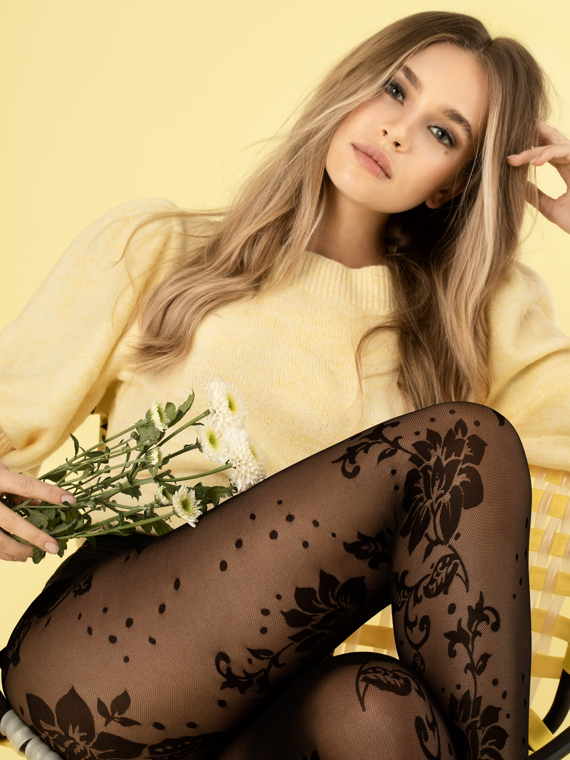Fiore: Lotus In Love 3D Pattern Tights