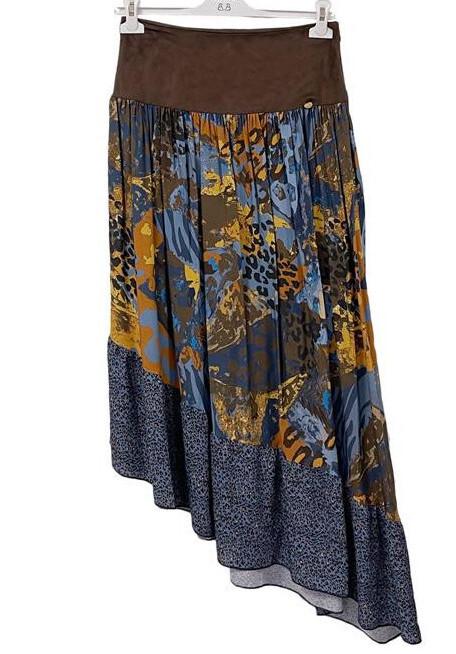 Paul Brial: Fancy Footprint Diagonal Cut Maxi Skirt PB_FAUVE
