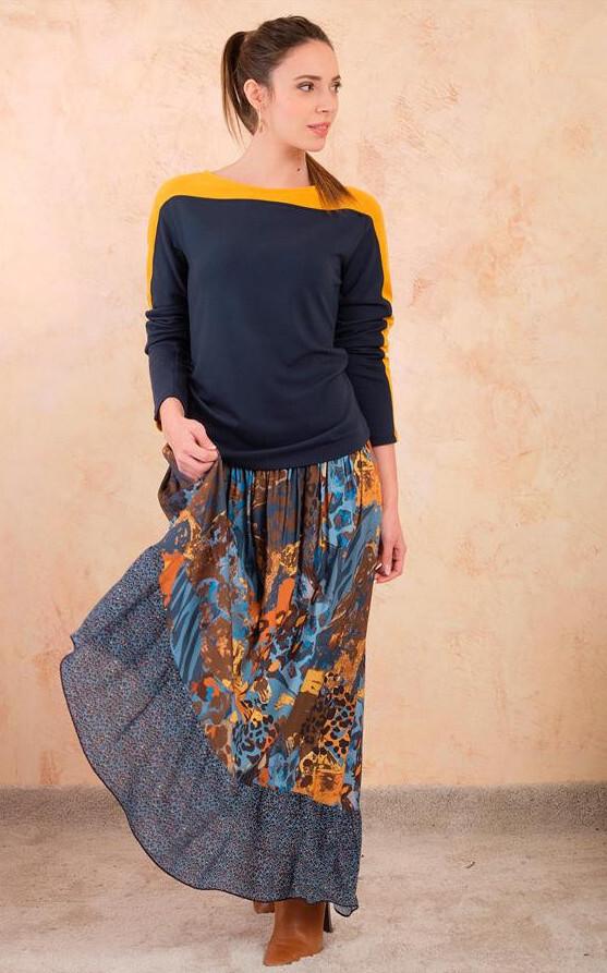 Paul Brial: Fancy Footprint Diagonal Cut Maxi Skirt