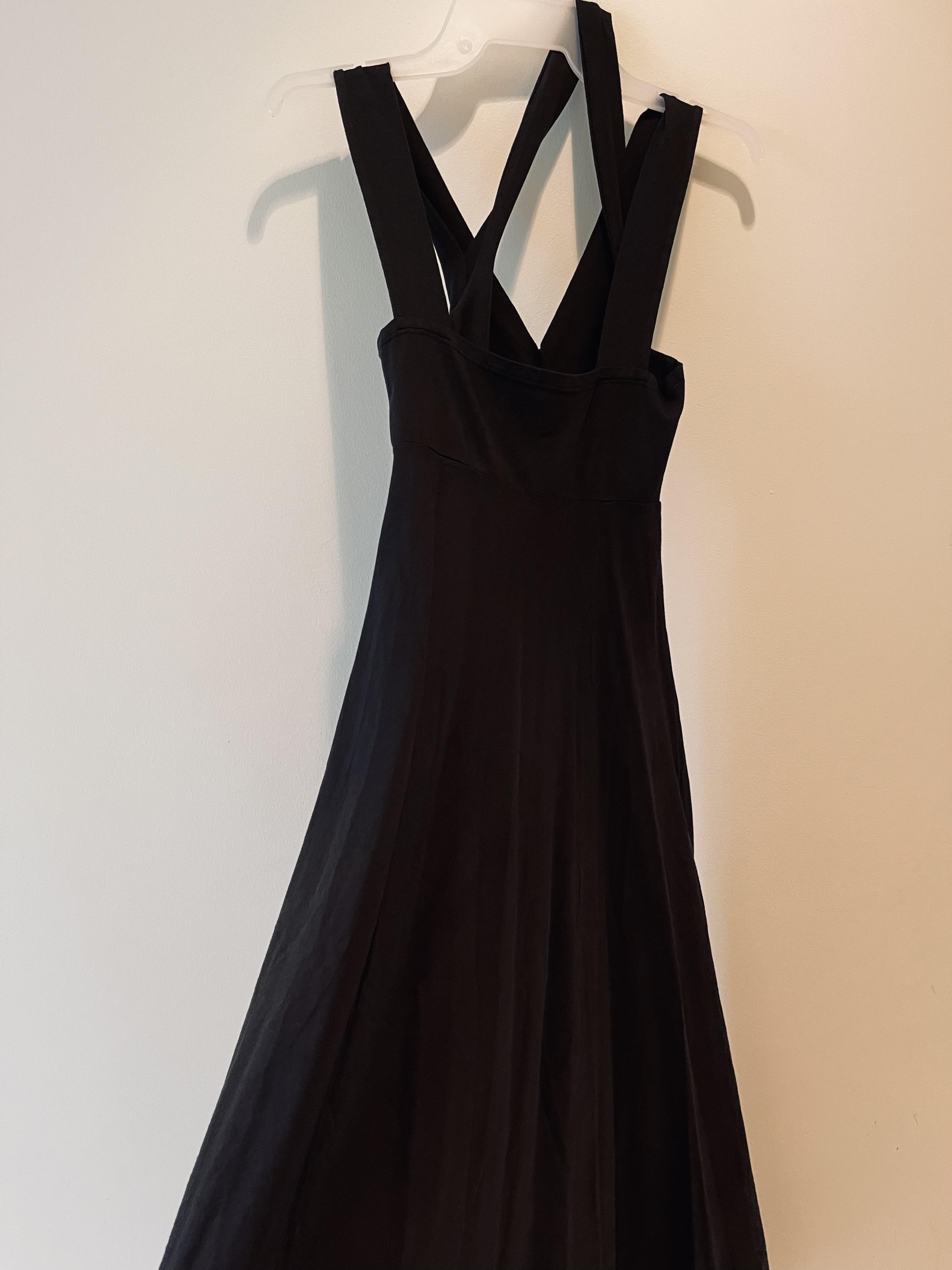 Luna Luz: Diamond Neck Cotton Muslin Dress (Ships Immed in Black, 2 Left!)