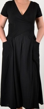 Luna Luz: Short Sleeve Cross Over Bodice Tie Dye Long Dress (Ships Immed: Black Botanical!) 518_BLACK_BOTANICAL