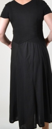 Luna Luz: Short Sleeve Cross Over Bodice Tie Dye Long Dress (Ships Immed: Black Botanical!)