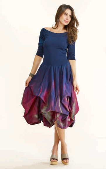 Luna Luz: Enchanting Feather Tied and Dyed Dress (Ships Immed in Black/Emerald!) LL_93TF_New1