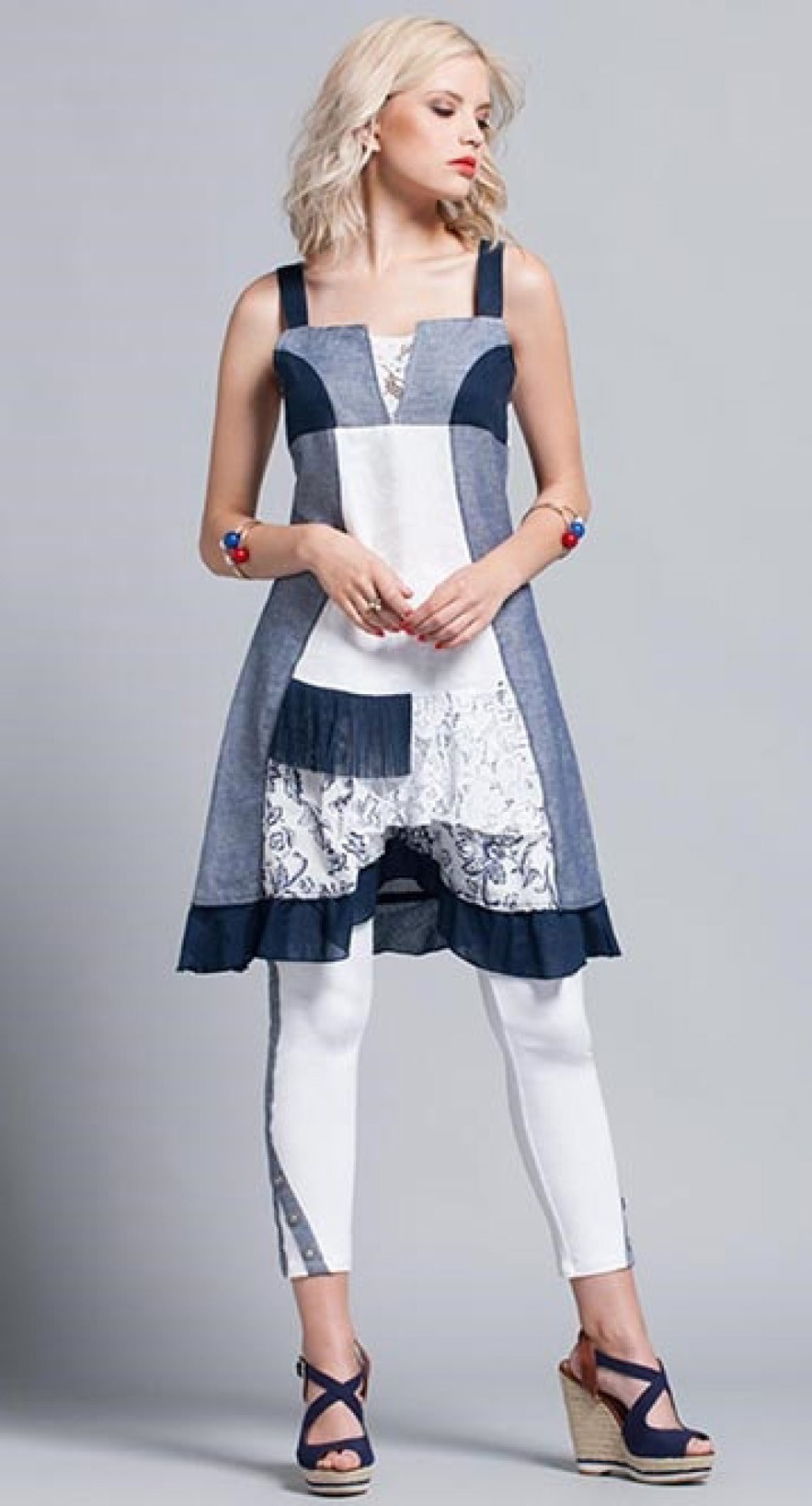 Maloka: Linen Denim Rosette Dress/Tunic (3 Left!) MK_DIEGO_N