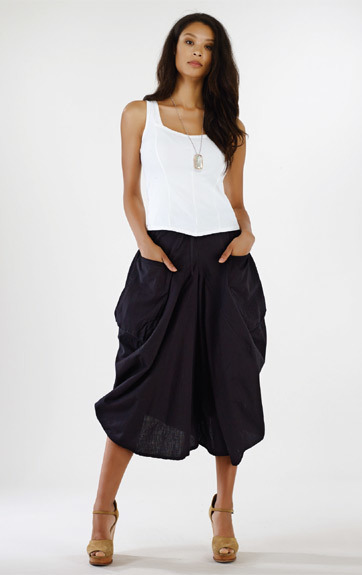 Luna Luz: Draped Cotton Cropped Culotte Skirt SOLD OUT LL_216_N
