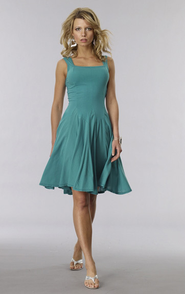 Luna Luz: Godet Dyed Square Neck Dress (Many Colors, Ships Immed, More Arrived!)