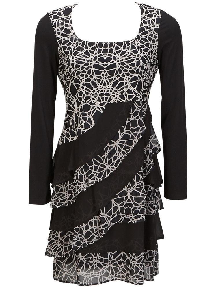 Eroke Italy: Asymmetrical Layers of Ruffles Dress EROKE_ABD69