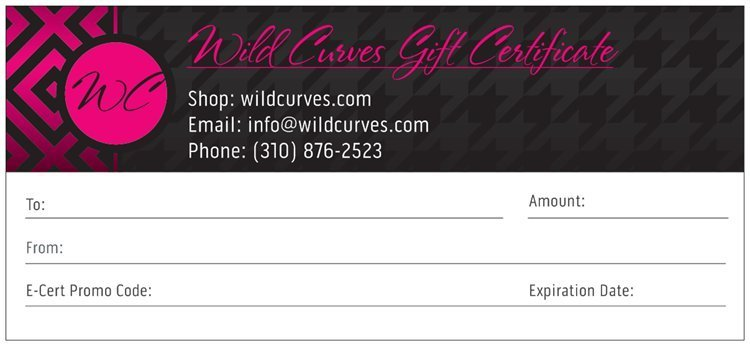 Wild Curves: Gift Certificate or E-Gift Card (Various Denominations) WC_GIFTCERT_N3