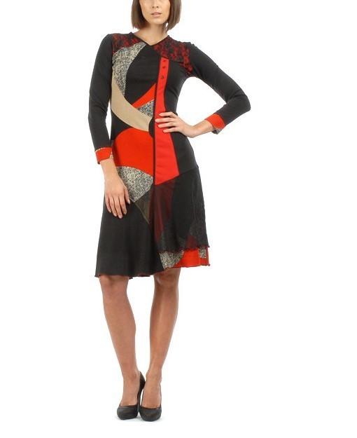 S'Quise Paris: Asymmetrical Color Pieced Midi Dress SQ_1574_N4