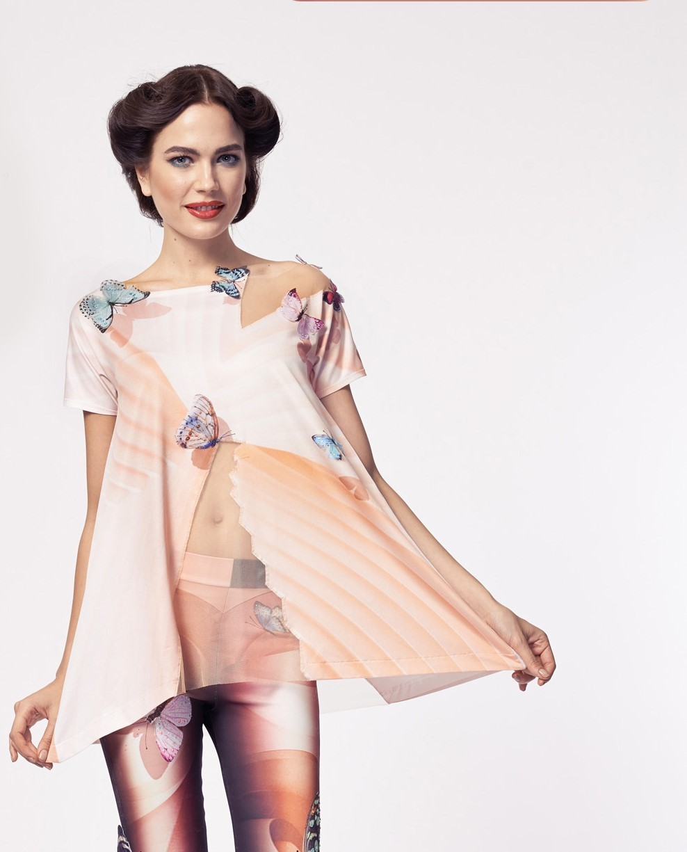 IPNG: Stunning Butterfly Asymmetrical Tunic (Ship Immed, 1 Left!) IPNG_TOLBW-62_N