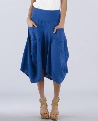 Luna Luz: Swivel Hemline Linen Midi Pocket Skirt (Ships Immed, 1 Left!) LL_734_N1