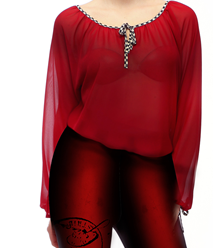 IPNG: Keyhole Tie Up Tunic Blouse (In Black & Wine, Ships Immed, 3 Left!)