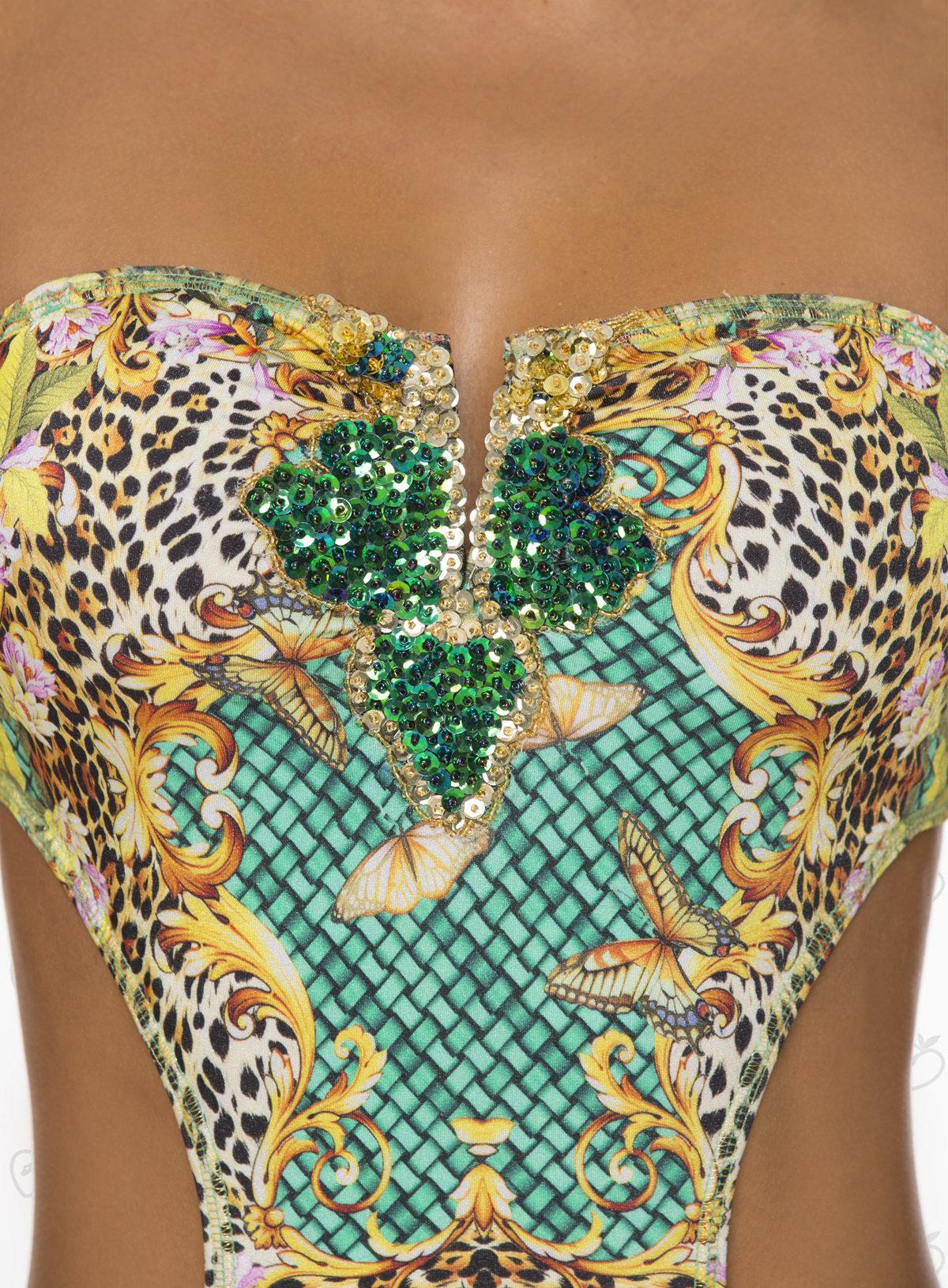 Paradizia Swimwear: Emerald Crystals Jaguar Cutout Monokini (1 Left!)