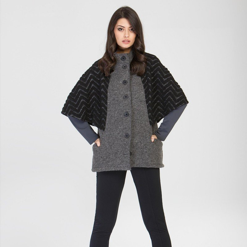 Maloka: Jacquard Wool Buttoned Down Shawl Vest (Non Itchy: Boiled Wool, Few Left & More Colors!) MK_MAIRI_N1
