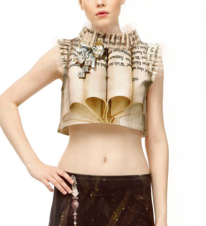 IPNG: Whimsical 3D Pages of Champagne Truffles Illusion Crop Top (Ships Immed, 1 Left!)