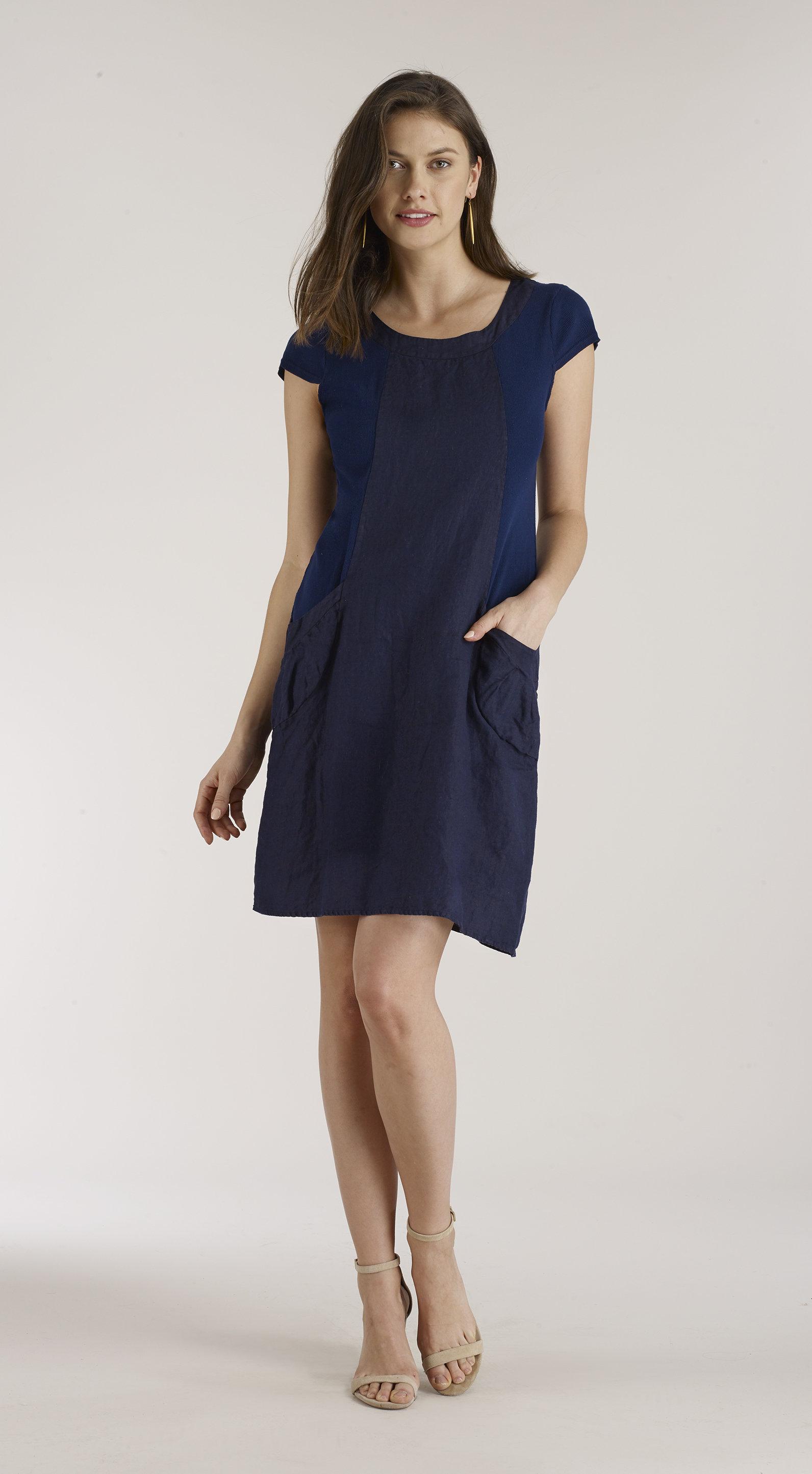 Luna Luz: Ribbed Linen & Cotton Capped Sleeve Dress (Ships Immed, 1 Left!) LL_764_N1