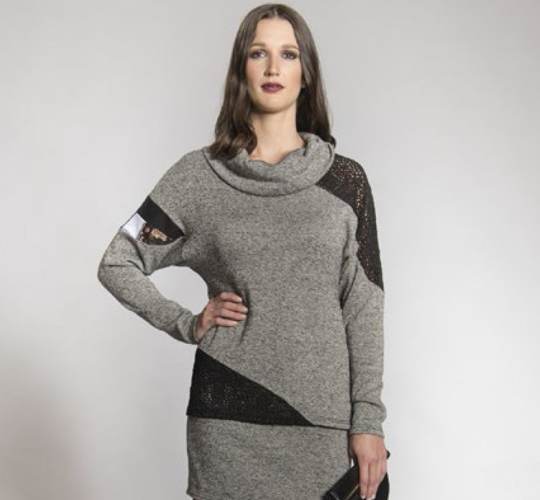 Myco Anna: Eco-Cotton Asymmetrical Patchwork Sweater (2 Left!) MA_CHANDAIL_N