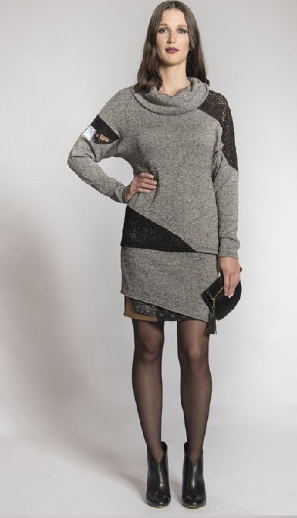 Myco Anna: Eco-Cotton Asymmetrical Patchwork Sweater (2 Left!)
