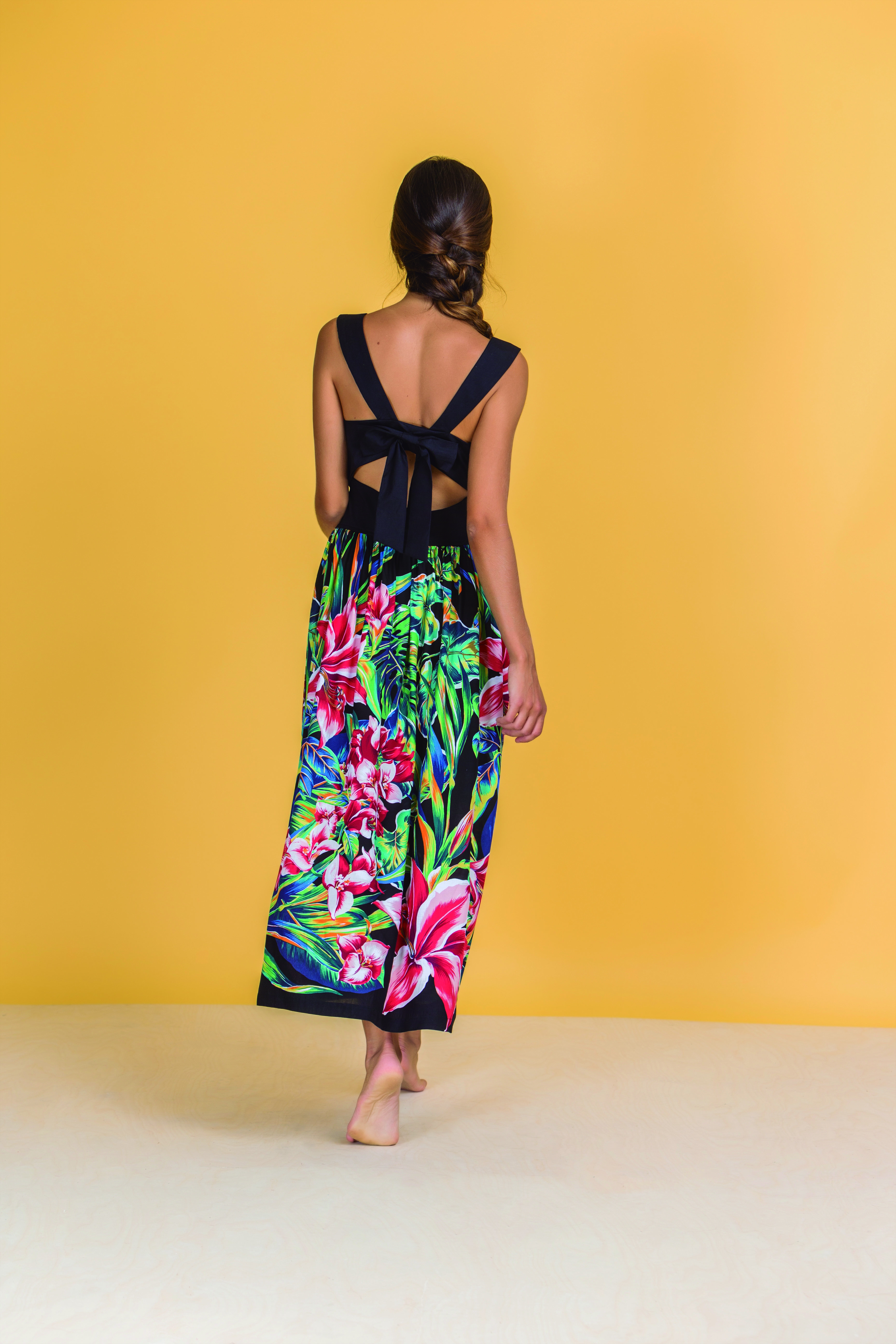 Paul Brial: Pleated Bow Back Cutout Maxi Dress (Few Left, Comes in Black & White!)