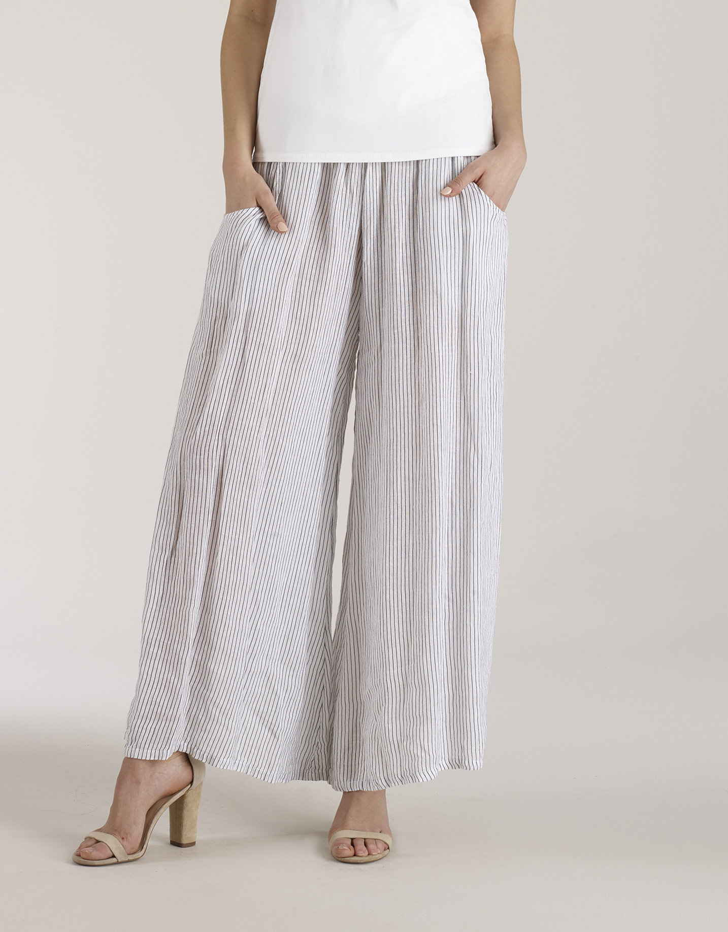 Luna Luz: Stripe Wide Leg Linen Pant (Ship Immed, 1 Left!) LL_D733_N