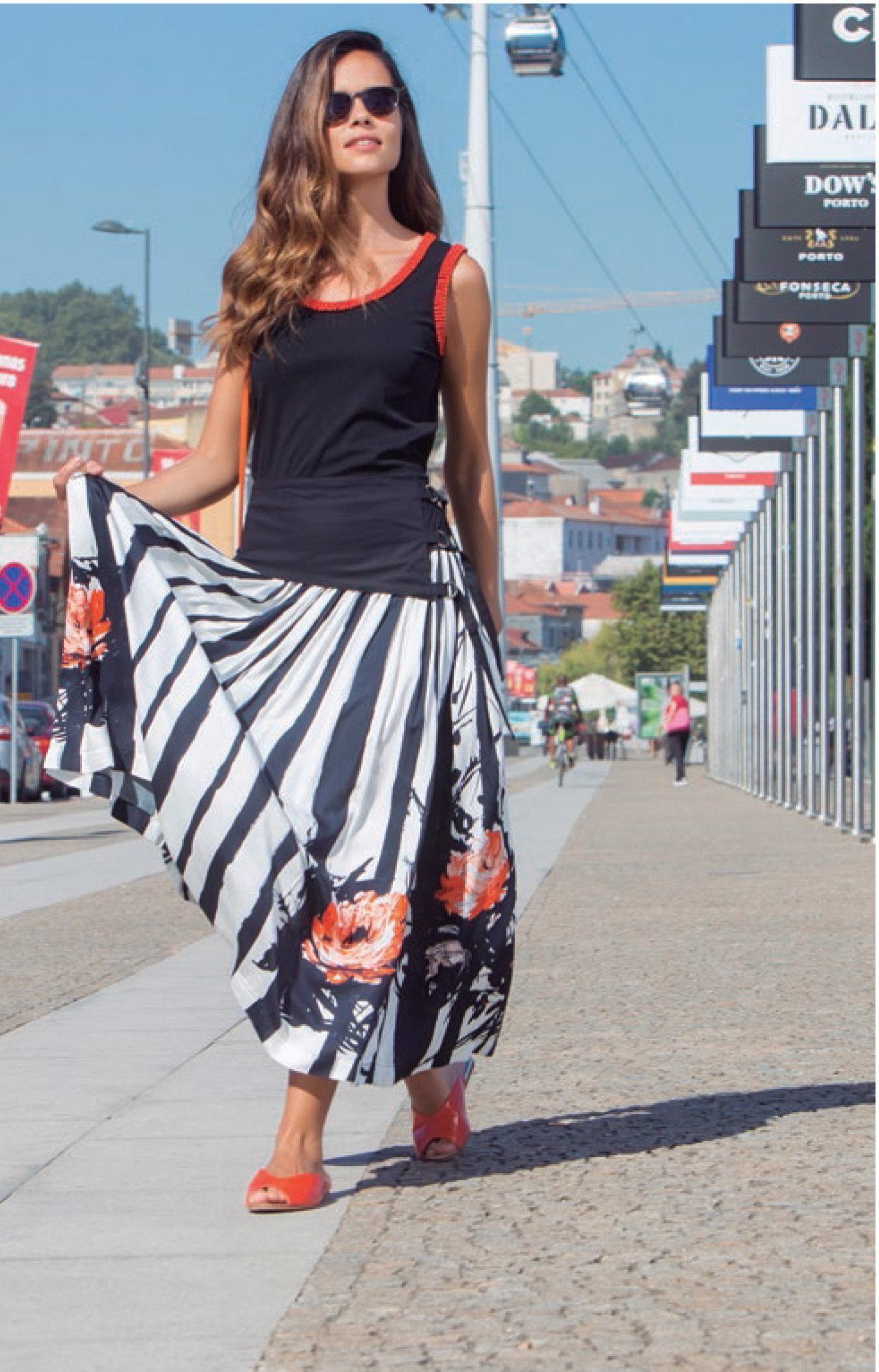 Paul Brial: Wild Orange Rose Corset Waist Flared Tuxedo Skirt (1 Left!) PB_RECTO_N2