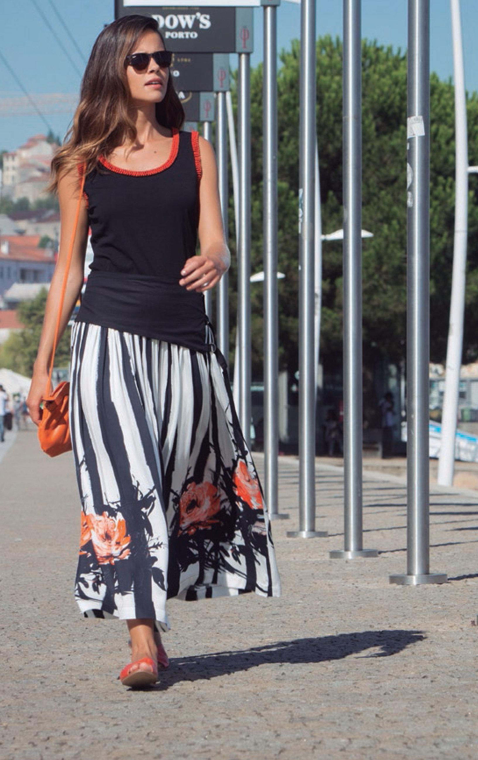 Paul Brial: Wild Orange Rose Corset Waist Flared Tuxedo Skirt (1 Left!)