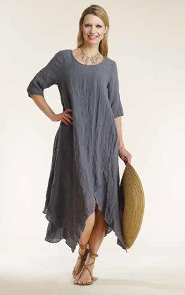 Luna Luz: Linen Gauze Swing Faux Wrap Dress SOLD OUT LL_784