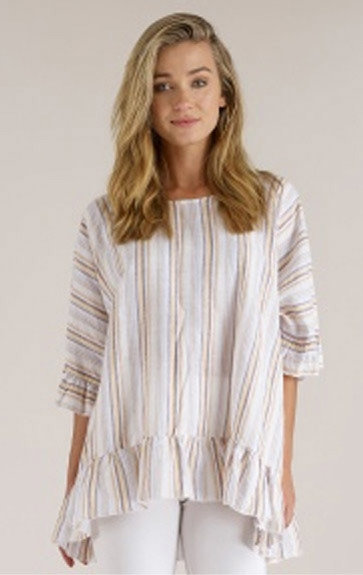 Luna Luz: Stripe High Low Ruffled Linen Tunic (More Colors, Ships Immed, 2 Left!) LL_M712