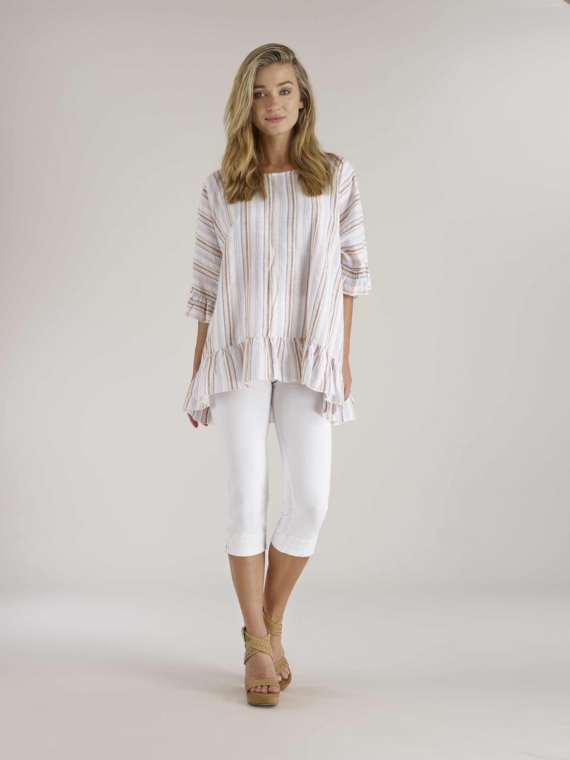 Luna Luz: Stripe High Low Ruffled Linen Tunic (More Colors, Ships Immed, 2 Left!)